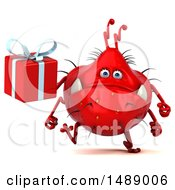 Clipart Of A 3d Red Germ Virus Holding A Gift On A White Background Royalty Free Illustration