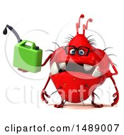 Clipart Of A 3d Red Germ Virus Holding A Gas Can On A White Background Royalty Free Illustration