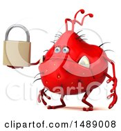 Clipart Of A 3d Red Germ Virus Holding A Padlock On A White Background Royalty Free Illustration