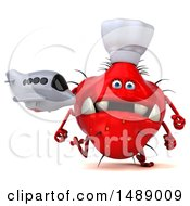 Clipart Of A 3d Red Chef Germ Virus Holding A Plane On A White Background Royalty Free Illustration