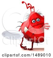Clipart Of A 3d Red Germ Virus Holding A Plate On A White Background Royalty Free Illustration