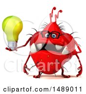 Clipart Of A 3d Red Germ Virus Holding A Light Bulb On A White Background Royalty Free Illustration