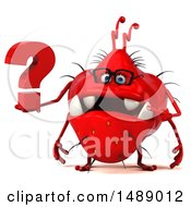 Clipart Of A 3d Red Germ Virus Holding A Question Mark On A White Background Royalty Free Illustration
