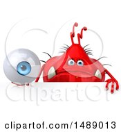Clipart Of A 3d Red Germ Virus Holding An Eyeball On A White Background Royalty Free Illustration