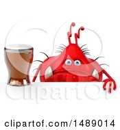 Clipart Of A 3d Red Germ Virus Holding A  On A White Background Royalty Free Illustration