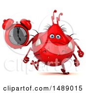 Clipart Of A 3d Red Germ Virus Holding An Alarm Clock On A White Background Royalty Free Illustration