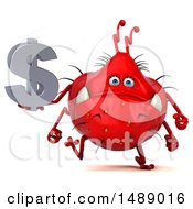Clipart Of A 3d Red Germ Virus Holding A Dollar Symbol On A White Background Royalty Free Illustration