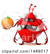 Clipart Of A 3d Red Germ Virus Holding An Orange On A White Background Royalty Free Illustration