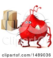 Clipart Of A 3d Red Germ Virus On A White Background Royalty Free Illustration