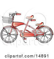 Poster, Art Print Of Brand New Red Tandem Bicycle With A Basket On The Front Retro