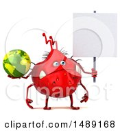 Clipart Of A 3d Red Germ Virus Holding A Globe On A White Background Royalty Free Illustration