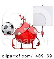 Clipart Of A 3d Red Germ Virus Holding A Soccer Ball On A White Background Royalty Free Illustration
