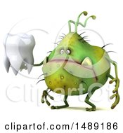 Clipart Of A 3d Green Germ Virus Monster On A White Background Royalty Free Illustration