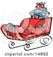 Red Sleigh Decorated With Holly And A Wreath Carrying Presents Retro Clipart Illustration