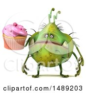 Clipart Of A 3d Green Germ Virus Holding A Cupcake On A White Background Royalty Free Illustration
