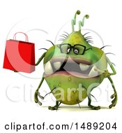 Clipart Of A 3d Green Germ Virus Holding A Shopping Bag On A White Background Royalty Free Illustration