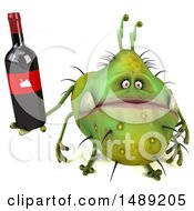 Clipart Of A 3d Green Germ Virus Holding A Wine Bottle On A White Background Royalty Free Illustration
