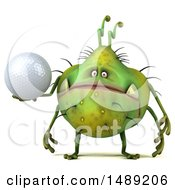 Clipart Of A 3d Green Germ Virus Holding A Golf Ball On A White Background Royalty Free Illustration