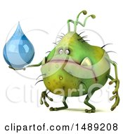 Clipart Of A 3d Green Germ Virus Holding A Water Drop On A White Background Royalty Free Illustration