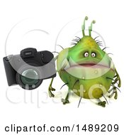 Clipart Of A 3d Green Germ Virus Holding A Camera On A White Background Royalty Free Illustration