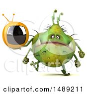 Clipart Of A 3d Green Germ Virus Holding A Tv On A White Background Royalty Free Illustration