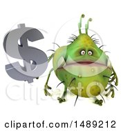 Clipart Of A 3d Green Germ Virus Holding A Dollar Symbol On A White Background Royalty Free Illustration