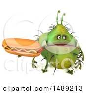 Clipart Of A 3d Green Germ Virus Holding A Hot Dog On A White Background Royalty Free Illustration