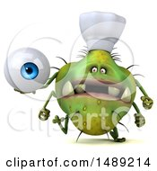 Clipart Of A 3d Green Chef Germ Virus Holding An Eyeball On A White Background Royalty Free Illustration