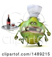 Clipart Of A 3d Green Chef Germ Virus Holding A Wine Tray On A White Background Royalty Free Illustration