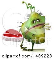Clipart Of A 3d Green Germ Virus On A White Background Royalty Free Illustration
