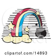 Pot Of Gold At The End Of A Rainbow Clipart Illustration by Andy Nortnik