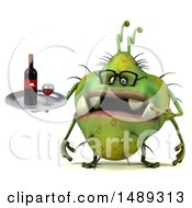 Clipart Of A 3d Green Monster Or Germ Character On A White Background Royalty Free Illustration