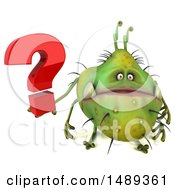 Poster, Art Print Of 3d Green Monster Or Germ Character On A White Background