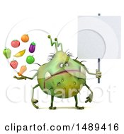 Clipart Of A 3d Green Germ Virus Holding Produce On A White Background Royalty Free Illustration