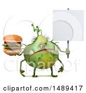 Clipart Of A 3d Green Germ Virus Holding A Burger On A White Background Royalty Free Illustration