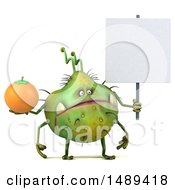 Clipart Of A 3d Green Germ Virus Holding An Orange On A White Background Royalty Free Illustration