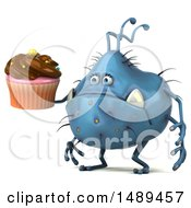 Clipart Of A 3d Blue Germ Virus Monster On A White Background Royalty Free Illustration