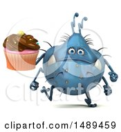 Clipart Of A 3d Blue Germ Virus Holding A Cupcake On A White Background Royalty Free Illustration