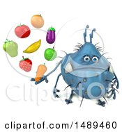 Clipart Of A 3d Blue Germ Virus Holding Produce On A White Background Royalty Free Illustration