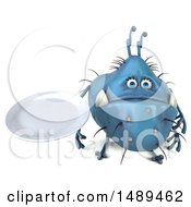 Clipart Of A 3d Blue Germ Virus Holding A Plate On A White Background Royalty Free Illustration