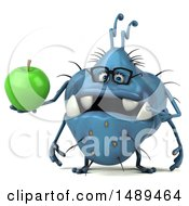 Clipart Of A 3d Blue Germ Virus Holding An Apple On A White Background Royalty Free Illustration