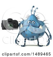 Clipart Of A 3d Blue Germ Virus Holding A Camera On A White Background Royalty Free Illustration