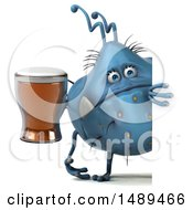 Clipart Of A 3d Blue Germ Virus Holding A Beer On A White Background Royalty Free Illustration