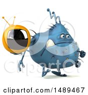 Clipart Of A 3d Blue Germ Virus Holding A Tv On A White Background Royalty Free Illustration