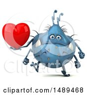Clipart Of A 3d Blue Germ Virus Holding A Heart On A White Background Royalty Free Illustration