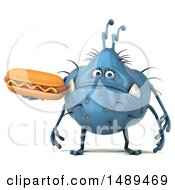 Clipart Of A 3d Blue Germ Virus Holding A Hot Dog On A White Background Royalty Free Illustration