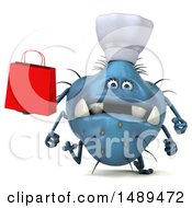 Clipart Of A 3d Blue Chef Germ Virus Holding A Shopping Bag On A White Background Royalty Free Illustration