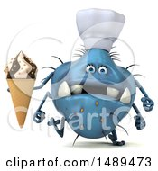 Clipart Of A 3d Blue Chef Germ Virus Holding A Waffle Cone On A White Background Royalty Free Illustration