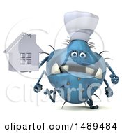 Clipart Of A 3d Blue Germ Virus Chef On A White Background Royalty Free Illustration