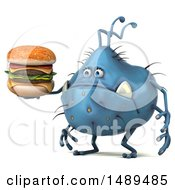 Clipart Of A 3d Blue Germ Virus On A White Background Royalty Free Illustration